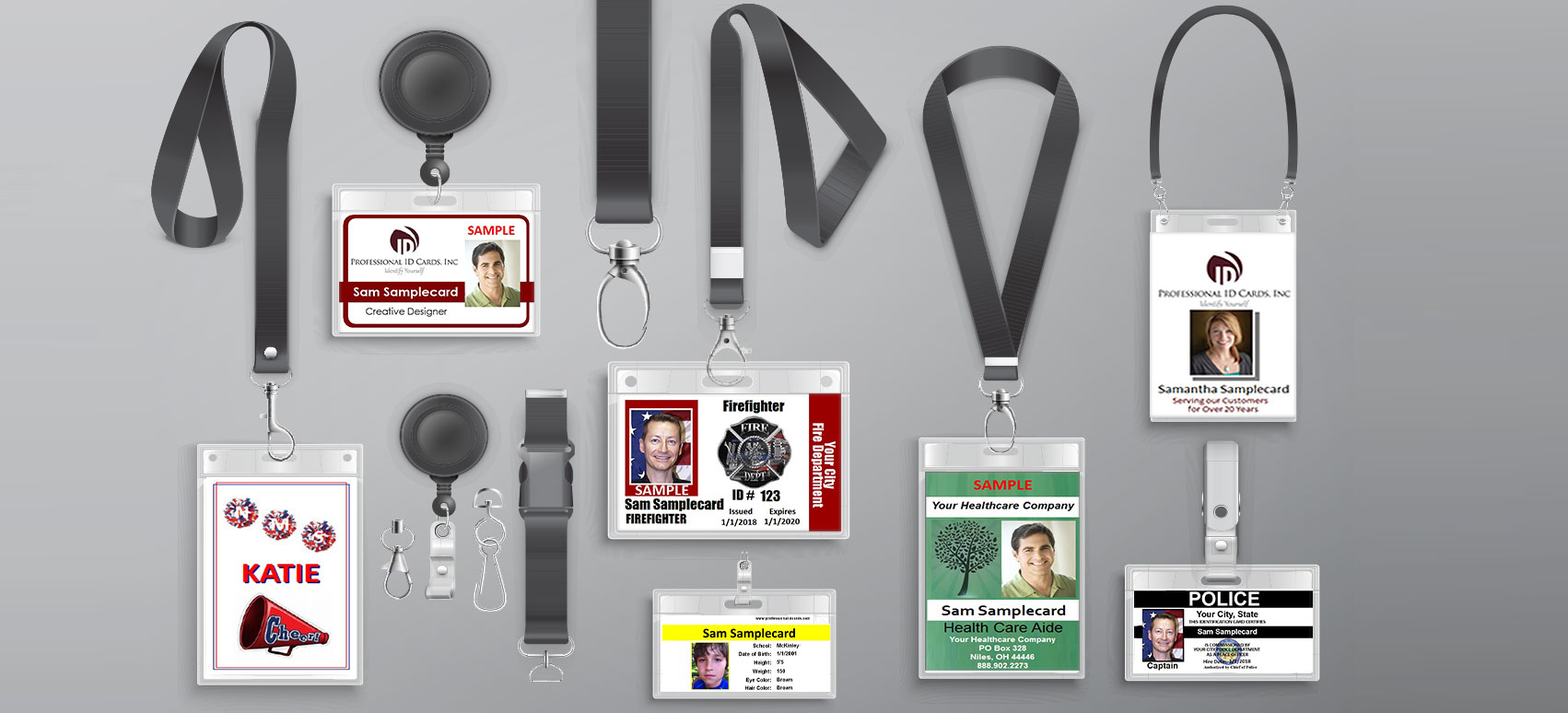 ID badges of different formats, shapes, clasps, lanyards, and sizes