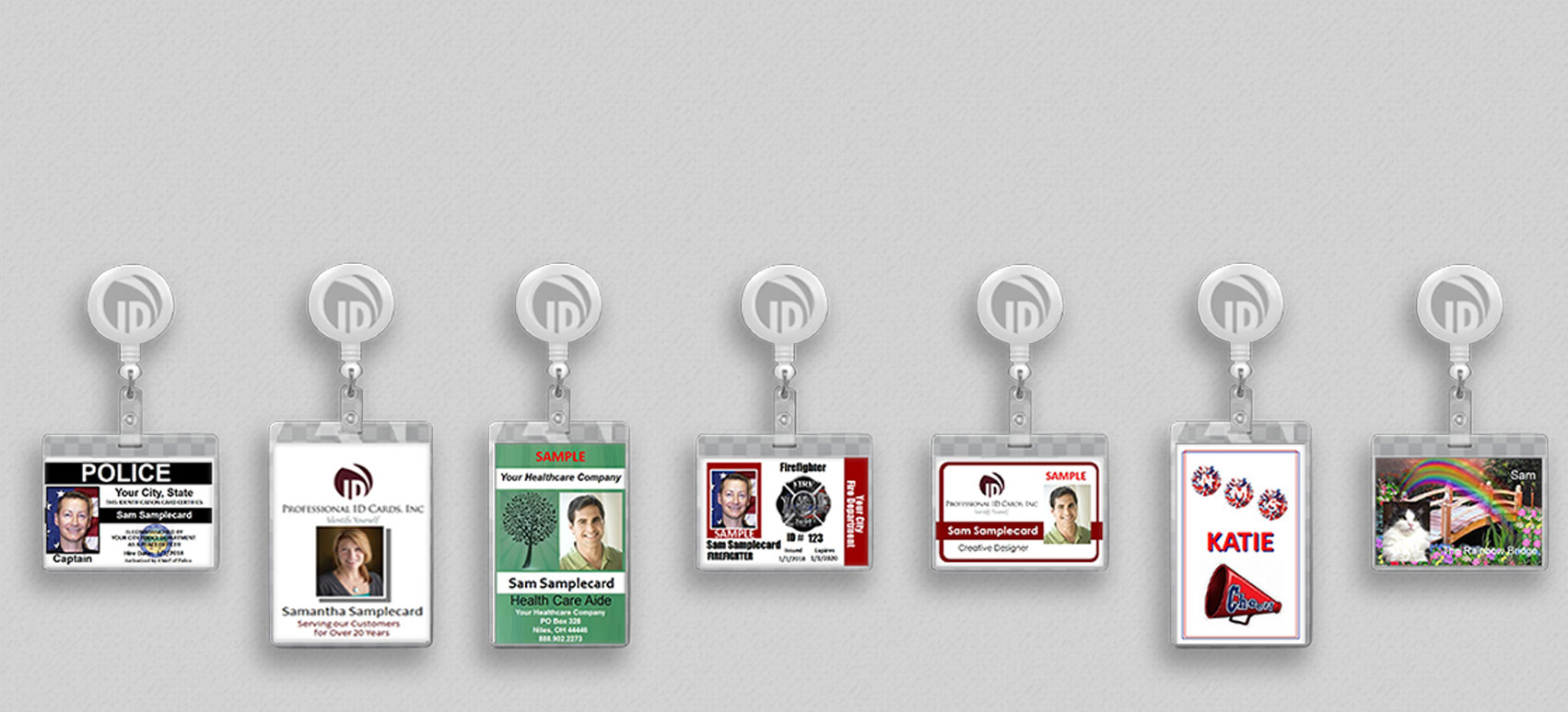 Vertical and Horizontal ID badge samples